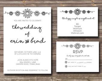 daisy rustic printable wedding invitation kit