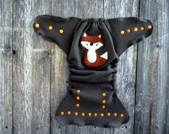 Upcycled Wool /Cashmere Nappy Cover Diaper Wrap Cloth Diaper Cover One Size Fits Most Brown With Fox Applique /Brown