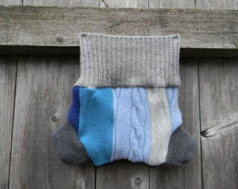 Upcycled Wool Soaker Cover Diaper Cover With Added Doubler Boy's Patchwork Scrappy  NEWBORN 0-3M Kidsgogreen