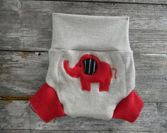 Upcycled Wool Soaker Cover Diaper Cover With Added Doubler Oatmeal/ Red With Elephant Applique LARGE 12-24M