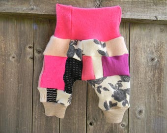 Upcycled Wool /Cashmere Shorties Bloomers Soaker Cover Diaper Cover Girl's Patchwork Scrappy SMALL 3-7M  Kidsgogreen