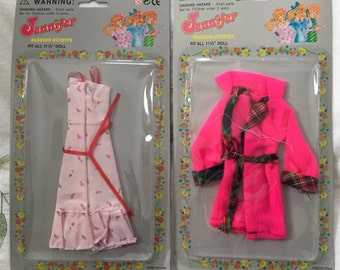 "Vintage Doll Clothes Pink Cotton Sundress & Hot Pink Fuzzy Bathrobe Plaid Trim Jennifer Fashion Outfits Fits Barbie and all 11.5"" Dolls NIP"