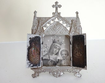 Antique French Shrine Altar - Crowned Mary with Sacred Heart Jesus