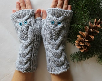 Owl Light Grey Hand Knitted Arm Warmers Fingerless Gloves, Woman Mittens, Eco Friendly,Christmas Gift