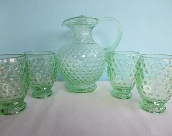Vintage Green Hobnail Pitcher and 4 Glasses - Goblets - Fenton - Tiara