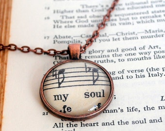 The Music In My Soul Pendant Inspirational Words and Music Jewellery
