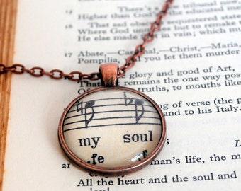 My Soul Pendant, Soul Music, Inspirational, Quote Pendant, Music Jewellery, Literary Necklace, Festival, Spiritual, Soul Mates