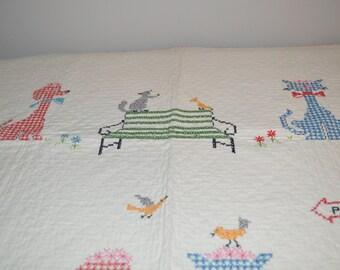 Vintage handmade quilt - baby blanket - nursery park with birds bench animals