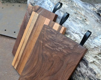 Hardwood Cutting Boards w/leather strap handle