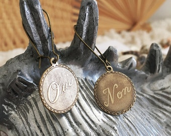 """Antique French """"Qui Non"""" Pendant Brass Earrings"""