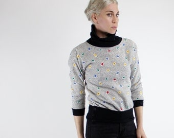 Vintage 80's cowl neck / turtleneck sweatshirt pullover, black & white, small primary color flowers - Small