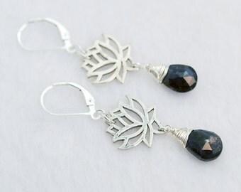 Blue Lotus earrings / Lotus Flower earrings / Iolite earrings /  Silver Lotus earrings / Dark Blue earrings / Blue Gemstone earrings
