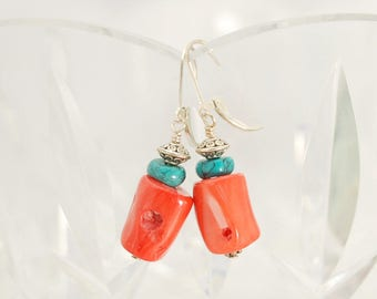 Turquoise and Coral earrings | Coral & Turquoise earrings | Turquoise jewelry | Coral jewlery | Colorful earrings | Best Statement earrings