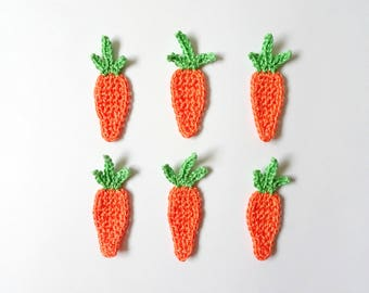 Crochet carrots applique - Easter applique - orange carrots decorations - play food applique - gift wrapping decorations - set of 6