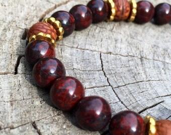 REMEDY- Brecciated Jasper and Bodhi Seed Wrist Mala Bracelet.