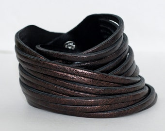 Multi-Strand Leather Cuff, Metallic Leather Wrap Cuff-Bracelet, Dark Purple Genuine Leather