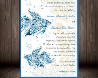 Printable Digital Fish Wedding Invitation Design, Under the Sea Wedding, Beach Wedding Invitation