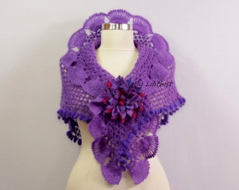 Purple Wedding Shawl Wrap, Crochet Shawl, Shawlette, Lace Shawl, Shawl Scarf, Violet Bridesmaid Cover Up, Bridal Shawl, Bridal Accessories