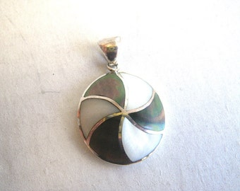 Sterling Silver Shell Inlay Swirl Pendant Abalone MOP Mother of Pearl