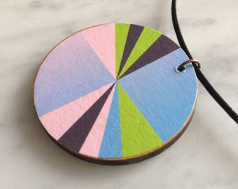 SALE 25% OFF - Circular wood pendant, geometric segmented pattern, powder pink & blue, lime green on chocolate, leather cord, style 30