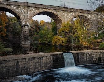 Fall Foliage Bridge at Wissahickon Creek in Philadelphia Print