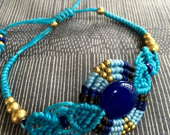 Lapis lazuli round gem on wax string bracelet