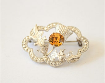 Vintage Scottish thistle brooch.  Sterling silver brooch. Ward Brothers. Citrine coloured crystals