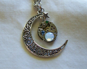 Filigree Moon Vintage Watchworks Pendant