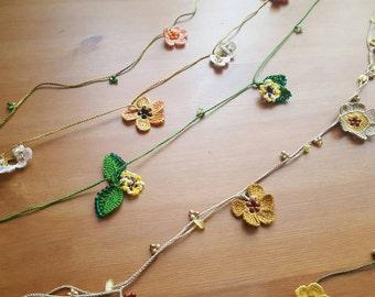 Handmade Crochet Small Beaded Flower Garland , Crochet flower garland, crochet bunting, crochet garland, flower, flower wedding garland.