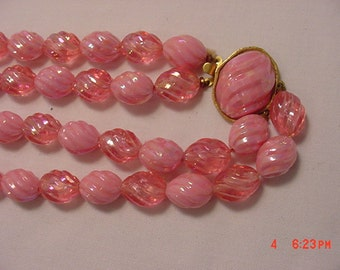 Vintage Pinks Aurora Borealis Beads Two Strand Necklace  17 - 62
