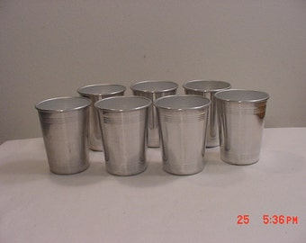 7 Vintage Silver Aluminum Drinking Cups  17 - 204