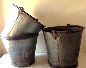 Extra Large Vintage French Zinc Farm Pail