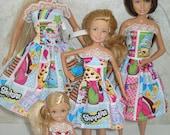 "Handmade 11.5"" fashion doll and sisters clothes - 4 fashion doll sisters shopping print dresses"