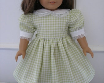 Dress for 18 inch dolls - green and white gingham with white shoes