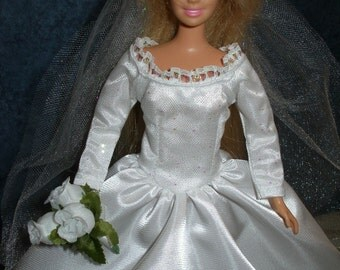 "Handmade 11.5"" fashion doll clothes - long sleeve glitter tulle and white satin wedding gown"