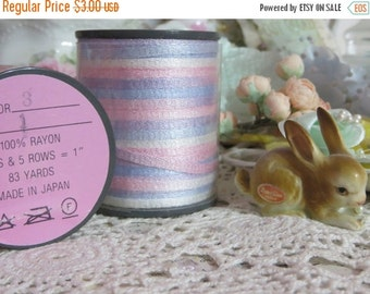 ON SALE Paris Chic Vintage Millinery Ribbon-Blue and Pink-5 yards-Made in Japan