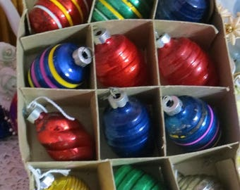 Going Out Of Business Vintage Glass Ornaments-Shapes-Dozen