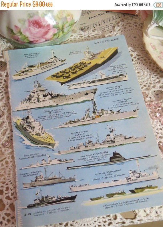 ON SALE Reference-Audubon-Book Plates-French-Battle Ships-Navy-Sea