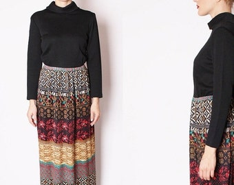 Final SALE 55% Off - Designer 1960s Vintage Tribal Maxi Dress / Long Dress / Dresses / Multi Color / Tribal Print / Long Black Dress / 1603