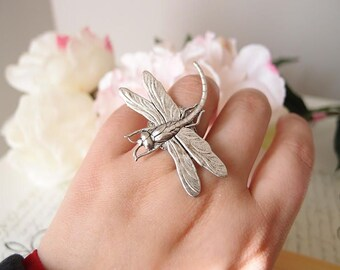 Victorian dragonfly Ring-Aged brass-adjustable-steampunk-Victorian-edgy chic- statement-armor ring V086