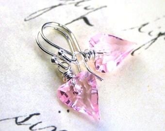 ON SALE Wild Heart Swarovski Crystal Earrings in Light Rose Pink- Blush Pink - Sterling Silver and Swarovski Crystal