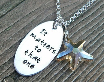 20% OFF - The Starfish Story Necklace - solid sterling and crystal