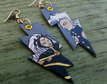 The Weather Witch - X-Men Storm hand-painted gray and gold lightning bolt comic book earrings