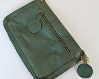 vintage 1970s leather clutch - HUNTER GREEN leather bag
