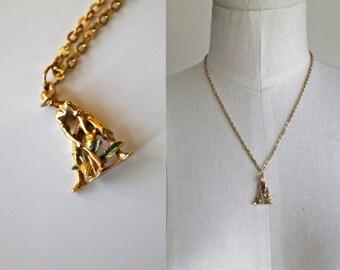 vintage charm necklace - PINEAPPLE FARMER novelty jewelry pendant