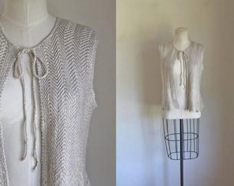 vintage 1970s knit top - ST. JOHN marie gray chevron vest / S/M
