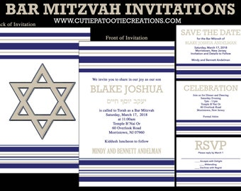Bar Mitzvah Invitations Navy Blue and Tan with Jewish Star - RSVP Reply Cards - Party Card - Save the Date - Thank You - Envelope Addressing