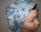 Bouffant Surgical Scrub Hat Snowman and Snow Flakes Blue
