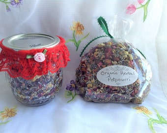 Ball Jar, Mason Jar Filled With Potpourri, Handmade Lace Garter, All Organic Lavender, Rose Petals, Chamomile, Rose Hips, Hibiscus