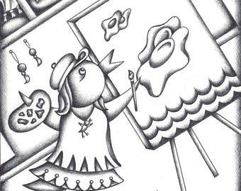 ORIGINAL drawing...Little Miss Chick in Her Art Studio